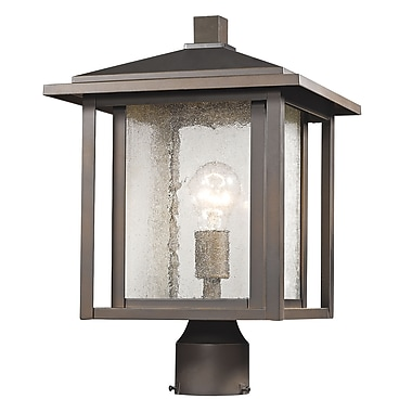 Z-Lite Aspen Outdoor Post Light, Bronze, Clear Seedy Glass Shade (554PHB-ORB)