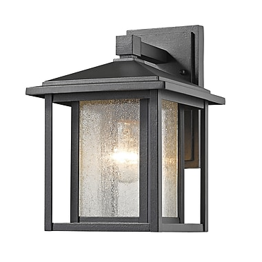 Z-Lite Aspen Outdoor Wall Light, Black, Clear Seedy Glass Shade (554S-BK)