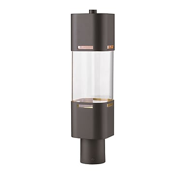 Z-Lite Lestat Outdoor Post Light, Bronze, Clear Glass Shade (562PHBR-DBZ-LED)