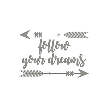 Decal House Follow Your Dreams Quote Arrow Sticker Wall Decal; Silver Gray