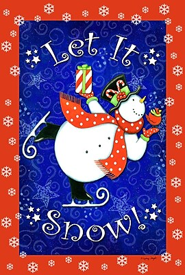 Toland Home Garden Skating Snowman 2-Sided Garden Flag