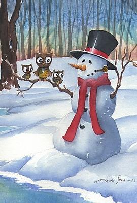 Toland Home Garden Snowman Owls Garden Flag