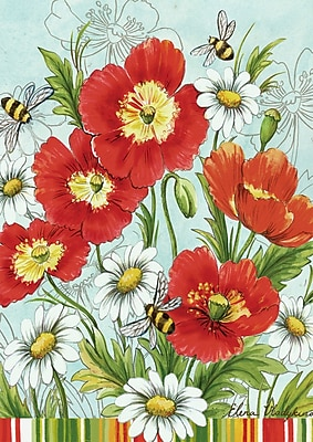 Toland Home Garden Poppies and Daisies 2-Sided Garden Flag
