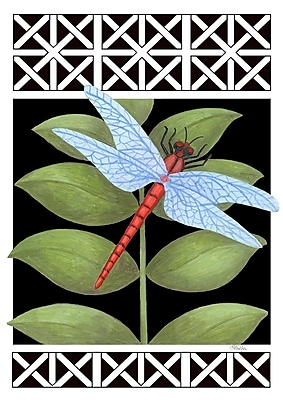 Toland Home Garden Dragonfly On Black 2-Sided Garden flag