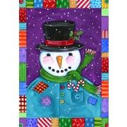 Toland Home Garden Patchwork Snowman 2-Sided Polyester 1.5' x 1' Garden Flag