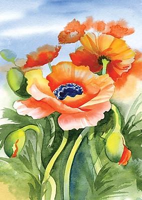 Toland Home Garden Poppies Posing 2-Sided Garden Flag