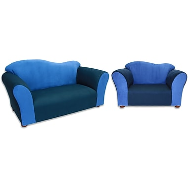 Zoomie Kids Espere 2 Piece Kids Sofa and Chair Set; Navy / Blue