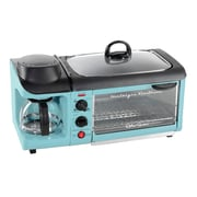 Nostalgia Electrics 4-Cup Retro Series 3-in-1 Breakfast Station Coffee Maker; Blue