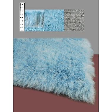 Ebern Designs Benes Faux Flokati Blue Area Rug; 3' x 5'