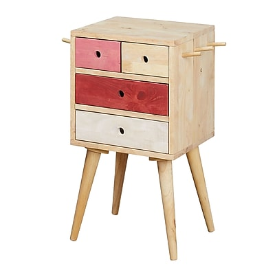 Varick Gallery Rayner 4 Drawer Accent Chest; Natural / Pink