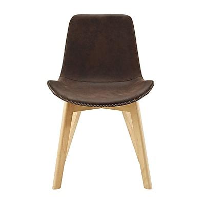 George Oliver Vanwingerden Suede Side Chair (Set of 2); Brown
