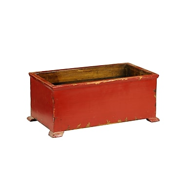 Antique Revival Asian Wood Planter Box; Red