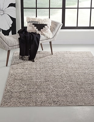 Darby Home Co Beecroft Machine Woven Synthetic Gray/Ivory Indoor Area Rug; Rectangle 8' x 10'