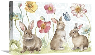 East Urban Home 'Spring Softies Bunnies I' Print on Canvas; 16'' H x 24'' W