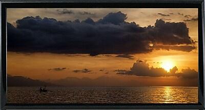 Ebern Designs 'Panorama Sunset No 1' Photographic Print; Black Metal Framed Paper