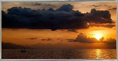 Ebern Designs 'Panorama Sunset No 1' Photographic Print; Silver Metal Framed Paper