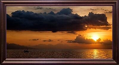 Ebern Designs 'Panorama Sunset No 1' Photographic Print; Cherry Wood Grande Framed Paper