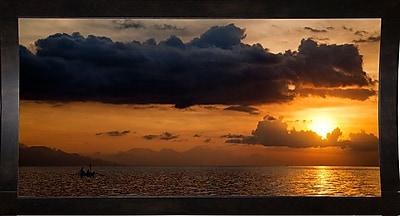 Ebern Designs 'Panorama Sunset No 1' Photographic Print; Black Wood Medium Framed Paper