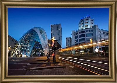 Ebern Designs 'Eindhoven Nighttime Cityscape' Photographic Print; Bistro Gold Framed Paper