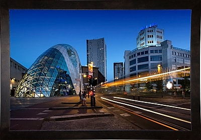 Ebern Designs 'Eindhoven Nighttime Cityscape' Photographic Print; Cafe Espresso Wood Framed Paper