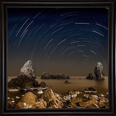 Ebern Designs 'Starry Night' Graphic Art Print; Bistro Expresso Framed Paper