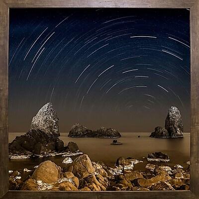 Ebern Designs 'Starry Night' Graphic Art Print; Cafe Mocha Framed Paper