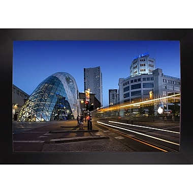 Ebern Designs 'Eindhoven Nighttime Cityscape' Photographic Print; Black Wood Large Framed Paper