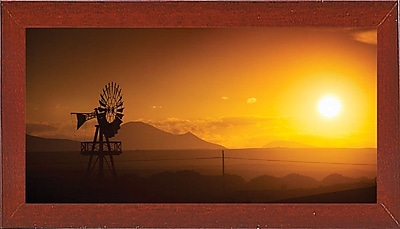 Ebern Designs 'Panorama Sunset No 2' Photographic Print; Red Mahogany Wood Medium Framed Paper
