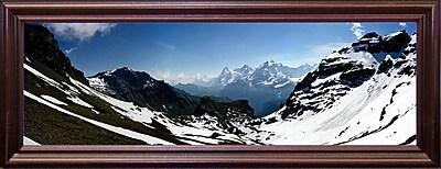 Ebern Designs 'Panorama Switzerland' Photographic Print; Cherry Wood Grande Framed Paper