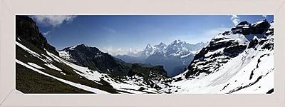 Ebern Designs 'Panorama Switzerland' Photographic Print; White Wood Medium Framed Paper