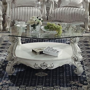 Astoria Grand Welton Glass Top Coffee Table; Bone White