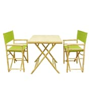 Bay Isle Home Shawmut Bamboo 3 Piece Outdoor Dining Set; Green