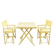 Bay Isle Home Shawmut Bamboo 3 Piece Outdoor Dining Set; Nude