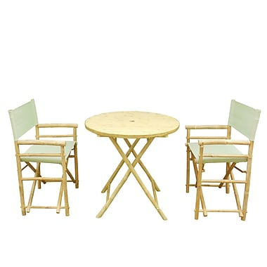 Bay Isle Home Shawmut Bamboo 3 Piece Outdoor Dining Set; Celadon