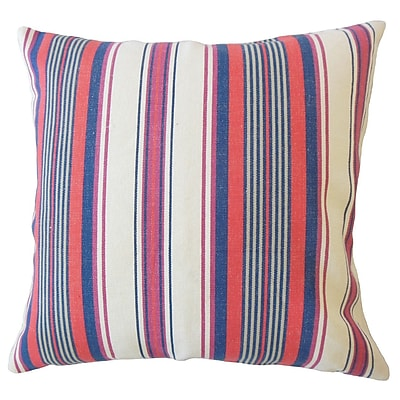 Longshore Tides Imala Striped Down Filled 100pct Cotton Lumbar Pillow; Blossom