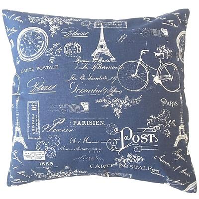 One Allium Way Daniele Typography Down Filled 100pct Cotton Lumbar Pillow; Navy