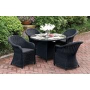 One Allium Way Filippo 5 Piece Dining Set w/ Cushions; Black
