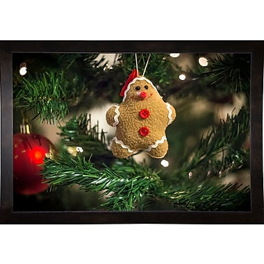 The Holiday Aisle 'Happy Star' Photographic Print; Cafe Espresso Wood Framed Paper
