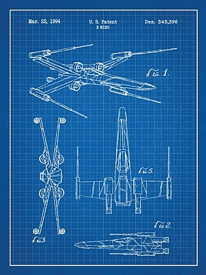 Williston Forge 'Star Wars X-Wing 2' Blueprint Graphic Art in Blue Grid/White Ink