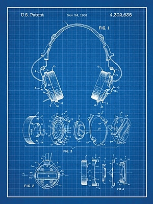 Williston Forge 'Headphones' Blueprint Graphic Art in Blue Grid/White Ink