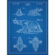 Williston Forge 'Star Wars Slave-I' Blueprint Graphic Art in Blue Grid/White Ink