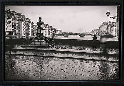 Winston Porter 'It's Raining' Photographic Print; Black Metal Flat Framed Paper