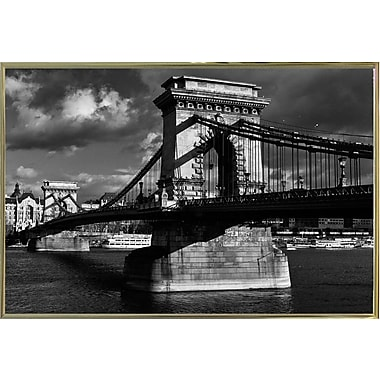 Williston Forge 'Budapest Chain Bridge Black and White' Photographic Print; Gold Metal Framed Paper