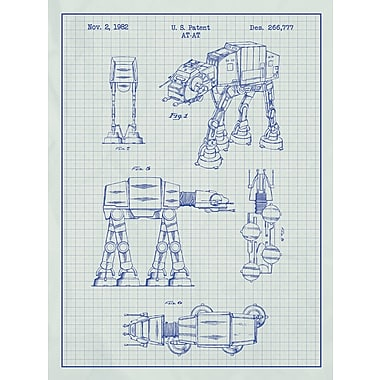 Williston Forge 'Star Wars AT-AT' Blueprint Graphic Art in White Grid/Blue Ink