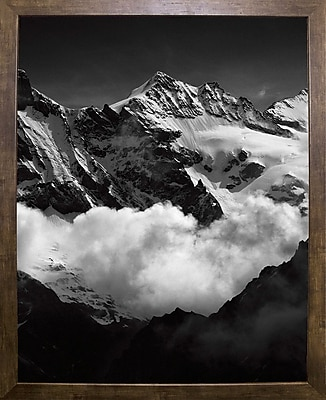 Union Rustic 'Mountains Black and White' Photographic Print; Cafe Mocha Framed Paper