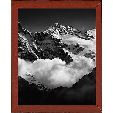 Union Rustic 'Mountains Black and White' Photographic Print; Red Mahogany Wood Medium Framed Paper