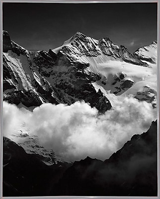 Union Rustic 'Mountains Black and White' Photographic Print; White Metal Framed Paper