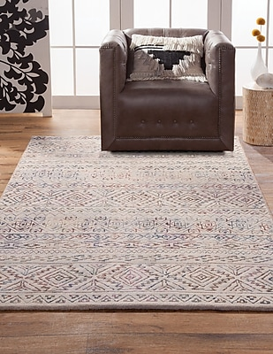 Bungalow Rose Coppermead Ivory/Pink Indoor/Outdoor Area Rug; Rectangle 8' x 10'