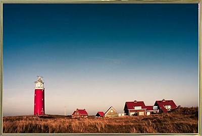 Breakwater Bay 'Texel Lighthouse' Photographic Print; Gold Metal Framed Paper