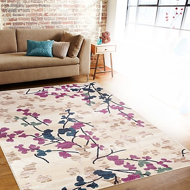 Charlton Home Frederick Cream/Pink Area Rug; 7'10'' x 10'2''